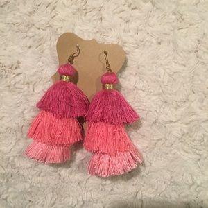 Large fun new tassel pink earrings